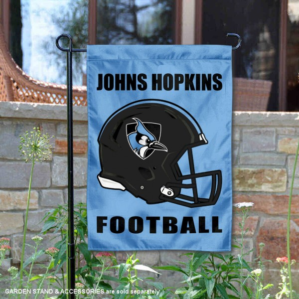 JHU Blue Jays Helmet Yard Garden Flag is 13x18 inches in size, is made of 2-layer polyester with Liner, screen printed university athletic logos and lettering, and is readable and viewable correctly on both sides. Available same day shipping, our JHU Blue Jays Helmet Yard Garden Flag is officially licensed and approved by the university and the NCAA.