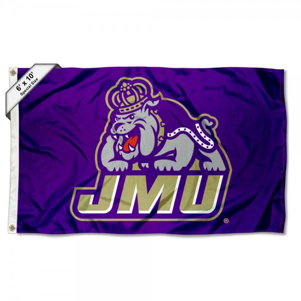 JMU Dukes 6'x10' Flag measures 6x10 feet, is made of thick poly, has quadruple-stitched fly ends, and JMU Dukes logos are screen printed into the JMU Dukes 6'x10' Flag. This JMU Dukes 6'x10' Flag is officially licensed by and the NCAA.