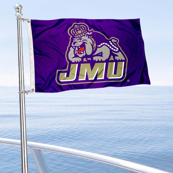 JMU Dukes Boat and Mini Flag is 12x18 inches, polyester, offers quadruple stitched flyends for durability, has two metal grommets, and is double sided. Our mini flags for James Madison University are licensed by the university and NCAA and can be used as a boat flag, motorcycle flag, golf cart flag, or ATV flag.