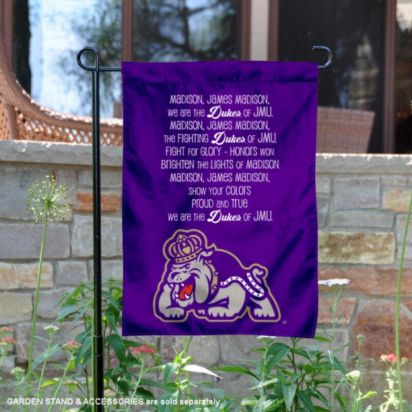 JMU Dukes Fight Song Lyrics Garden Flag is 13x18 inches in size, is made of thick blockout polyester, screen printed university athletic logos and lettering, and is readable and viewable correctly on both sides. Available same day shipping, our JMU Dukes Fight Song Lyrics Garden Flag is officially licensed and approved by the university and the NCAA.