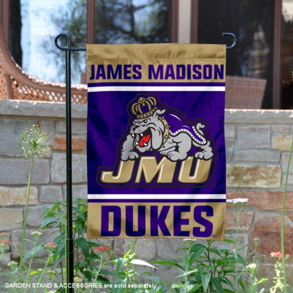 JMU Dukes Garden Flag is 13x18 inches in size, is made of 2-layer polyester, screen printed logos and lettering. Available with Same Day Express Shipping, Our JMU Dukes Garden Flag is officially licensed and approved by the NCAA.