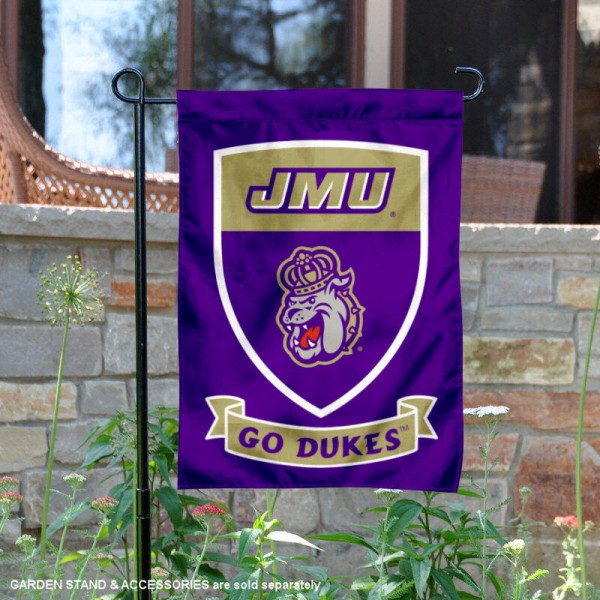 JMU Dukes Go Dukes Shield Garden Flag is 13x18 inches in size, is made of thick blockout polyester, screen printed university athletic logos and lettering, and is readable and viewable correctly on both sides. Available same day shipping, our JMU Dukes Go Dukes Shield Garden Flag is officially licensed and approved by the university and the NCAA.