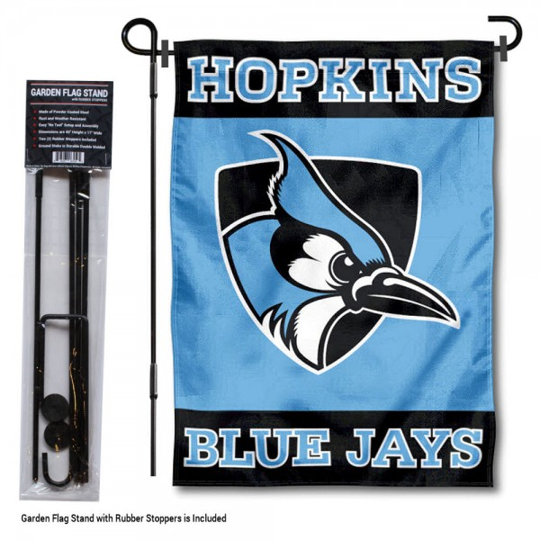 "John Hopkins University Garden Flag and Stand kit includes our 13""x18"" garden banner which is made of 2 ply poly with liner and has screen printed licensed logos. Also, a 40""x17"" inch garden flag stand is included so your John Hopkins University Garden Flag and Stand is ready to be displayed with no tools needed for setup. Fast Overnight Shipping is offered and the flag is Officially Licensed and Approved by the selected team."