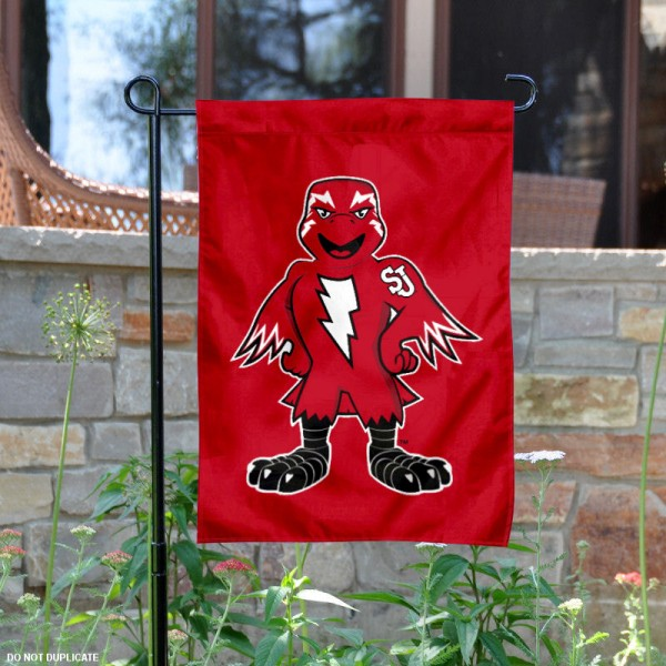 Johnny Thunderbird Mascot Garden Flag is 13x18 inches in size, is made of 2-layer polyester, screen printed St. John's University athletic logos and lettering. Available with Same Day Express Shipping, Our Johnny Thunderbird Mascot Garden Flag is officially licensed and approved by St. John's University and the NCAA.