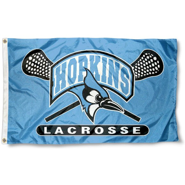 Johns Hopkins Blue Jays Lacrosse Flag measures 3'x5', is made of 100% poly, has quadruple stitched sewing, two metal grommets, and has double sided Johns Hopkins Blue Jays logos. Our Johns Hopkins Blue Jays Lacrosse Flag is officially licensed by the selected university and the NCAA.