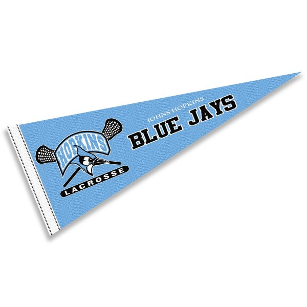 Johns Hopkins Lacrosse Pennant consists of our full size sports pennant which measures 12x30 inches, is constructed of felt, is single sided imprinted, and offers a pennant sleeve for insertion of a pennant stick, if desired. This Johns Hopkins Lacrosse Pennant Decorations is Officially Licensed by the selected university and the NCAA.