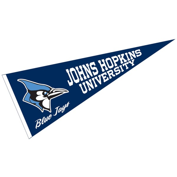 Johns Hopkins University Pennant measures 12x30 inches, is made of wool, and the School logos are printed with raised lettering. Our Johns Hopkins University Pennant is Officially Licensed and Approved by the University or Institution.