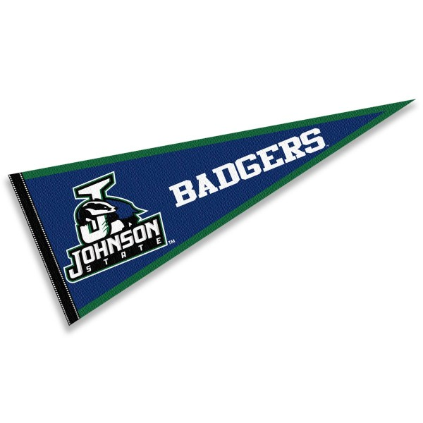 Johnson State Badgers Pennant consists of our full size sports pennant which measures 12x30 inches, is constructed of felt, is single sided imprinted, and offers a pennant sleeve for insertion of a pennant stick, if desired. This Johnson State Badgers Pennant Decorations is Officially Licensed by the selected university and the NCAA.