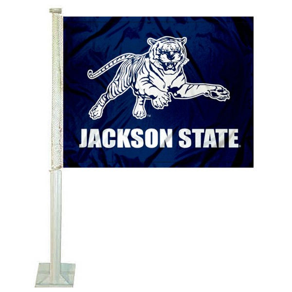 JSU Tigers Car Flag measures 12x15 inches, is constructed of sturdy 2 ply polyester, and has screen printed school logos which are readable and viewable correctly on both sides. JSU Tigers Car Flag is officially licensed by the NCAA and selected university.