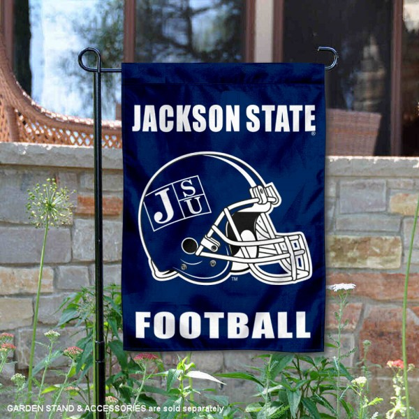 JSU Tigers Helmet Yard Garden Flag is 13x18 inches in size, is made of 2-layer polyester with Liner, screen printed university athletic logos and lettering, and is readable and viewable correctly on both sides. Available same day shipping, our JSU Tigers Helmet Yard Garden Flag is officially licensed and approved by the university and the NCAA.