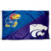 K State vs. Jayhawks House Divided 3x5 Flag
