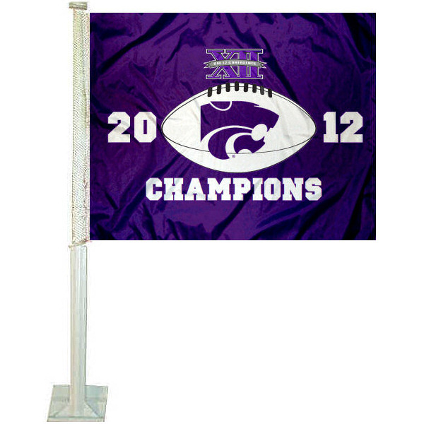 K State Wildcats Big 12 Champs Car Flag measures 12x15 inches, is constructed of sturdy 2 ply polyester, and has screen printed school logos which are readable and viewable correctly on both sides. Kansas State University Big 12 Champs Car Flag is officially licensed by the NCAA.
