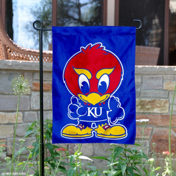Kansas Baby Jayhawk Garden Flag is 13x18 inches in size, is made of 2-layer polyester, screen printed Kansas Baby Jayhawk athletic logos and lettering. Available with Same Day Express Shipping, Our Kansas Baby Jayhawk Garden Flag is officially licensed and approved by Kansas Baby Jayhawk and the NCAA.