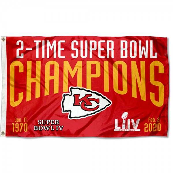 Our Kansas City Chiefs 2 Time Super Bowl Champions Flag is double sided, made of poly, 3'x5', has two metal grommets, indoor or outdoor, and four-stitched fly ends. These Kansas City Chiefs 2 Time Super Bowl Champions Flags are Officially Approved by the Kansas City Chiefs.