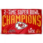 Kansas City Chiefs 2 Time Super Bowl Champions Flag