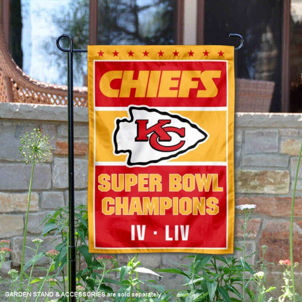 Kansas City Chiefs 2 Time Super Bowl Champions Garden Flag is 12x18 inches in size, is made of thick 1-ply 300D triple spun polyester, and has two sided screen printed logos and lettering. Available with Express Next Day Ship, our Kansas City Chiefs 2 Time Super Bowl Champions Garden Flag is NFL Officially Licensed and is double sided.