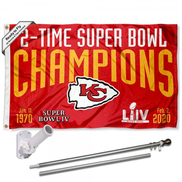 Our Kansas City Chiefs 2 Time Super Bowl Champions Flag Pole and Bracket Kit includes the flag as shown and the recommended flagpole and flag bracket. The flag is made of polyester, has quad-stitched flyends, and the NFL Licensed team logos are double sided screen printed. The flagpole and bracket are made of rust proof aluminum and includes all hardware so this kit is ready to install and fly.