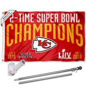 Kansas City Chiefs 2 Time Super Bowl Champions Flag Pole and Bracket Kit