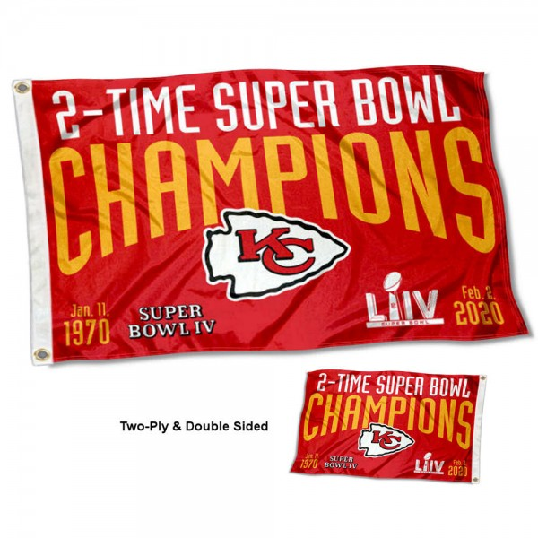 Kansas City Chiefs 2 Time Super Bowl Champions Double Sided Flag measures 3'x5', is made of 2-ply double sided polyester with liner, has quadruple stitched sewing, two metal grommets, and has two sided team logos. Our Kansas City Chiefs 2 Time Super Bowl Champions Double Sided Flag is officially licensed by the selected team and the NFL and is available with overnight express shipping.