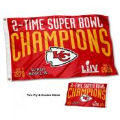 Kansas City Chiefs 2 Time Super Bowl Champions Double Sided Flag