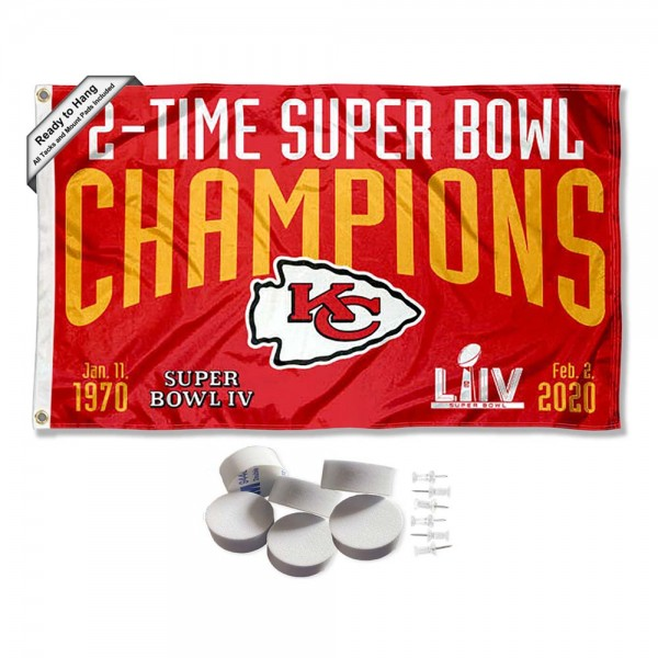 Our Kansas City Chiefs 2 Time Super Bowl Champions Banner Flag with Tack Wall Pads is double sided, made of poly, 3'x5', has two metal grommets, indoor or outdoor, and four-stitched fly ends. These Kansas City Chiefs 2 Time Super Bowl Champions Banner Flag with Tack Wall Padss are Officially Approved by the Kansas City Chiefs. Tapestry Wall Hanging Tack Pads which include a 6 pack of banner display pads with 6 tacks allowing you to hang your pennant on any wall damage-free.