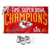 Kansas City Chiefs 2 Time Super Bowl Champions Banner Flag with Tack Wall Pads