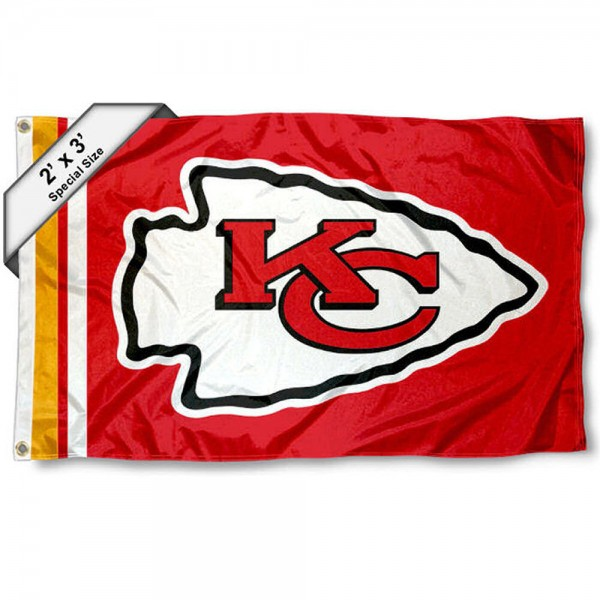 Kansas City Chiefs 2x3 Feet Flag measures 2'x3', is made polyester, has quadruple stitched flyends, two metal grommets, and offers screen printed NFL Kansas City Chiefs logos and insignias. Our Kansas City Chiefs 2x3 Foot Flag is NFL Officially Licensed and approved.