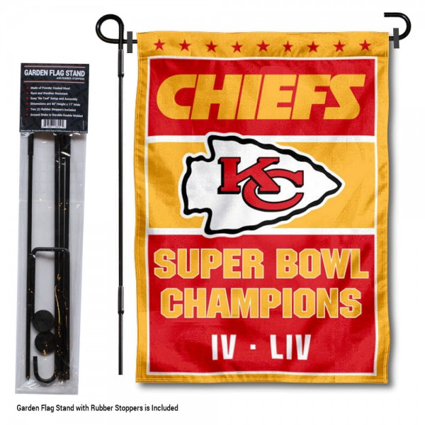 "Kansas City Chiefs 2x Times Super Bowl Champions Garden Flag and Stand kit includes our 13""x18"" garden banner which is made of 2 ply poly with liner and has screen printed licensed logos. Also, a 40""x17"" inch garden flag stand is included so your Kansas City Chiefs 2x Times Super Bowl Champions Garden Flag and Stand is ready to be displayed with no tools needed for setup. Fast Overnight Shipping is offered and the flag is Officially Licensed and Approved by the selected team."