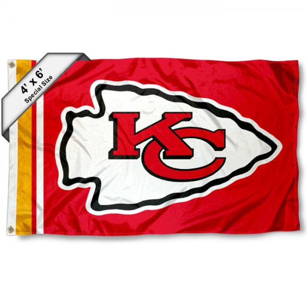 Kansas City Chiefs 4x6 Flag measures a large 4x6 feet, is made polyester, has quadruple stitched flyends, two metal grommets, and offers screen printed NFL Kansas City Chiefs logos and insignias. Our Kansas City Chiefs 4x6 Foot Flag is NFL Officially Licensed and Kansas City Chiefs approved.