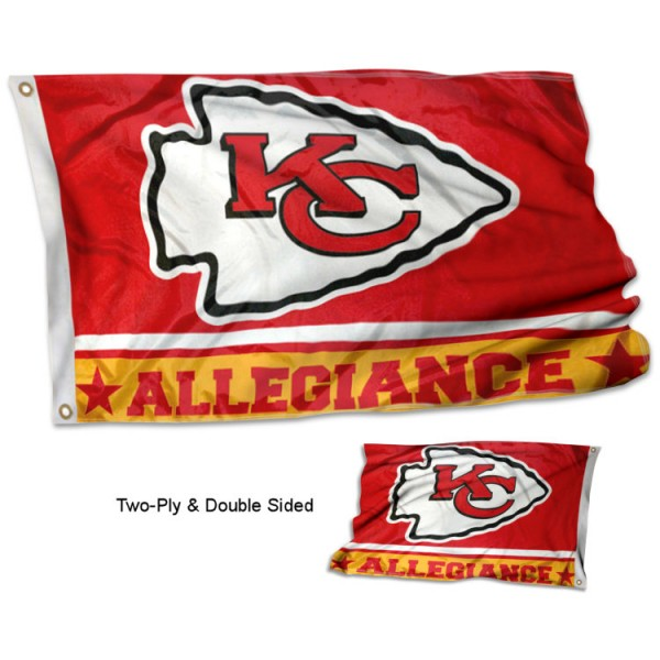 Kansas City Chiefs Allegiance Flag measures 3'x5', is made of 2-ply double sided polyester with liner, has quadruple stitched sewing, two metal grommets, and has two sided team logos. Our Kansas City Chiefs Allegiance Flag is officially licensed by the selected team and the NFL and is available with overnight express shipping.