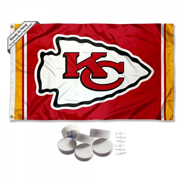 Our Kansas City Chiefs Banner Flag with Tack Wall Pads is double sided, made of poly, 3'x5', has two metal grommets, indoor or outdoor, and four-stitched fly ends. These Kansas City Chiefs Banner Flag with Tack Wall Padss are Officially Approved by the Kansas City Chiefs. Tapestry Wall Hanging Tack Pads which include a 6 pack of banner display pads with 6 tacks allowing you to hang your pennant on any wall damage-free.
