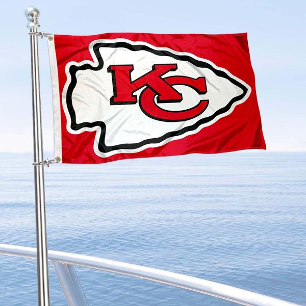 "Our Kansas City Chiefs Boat and Nautical Flag is 12""x18"", made of three-ply poly, has a solid header with two metal grommets, and is double sided. This Boat and Nautical Flag for Kansas City Chiefs is Officially Licensed by the NFL and can also be used as a motorcycle flag, boat flag, golf cart flag, or recreational flag."