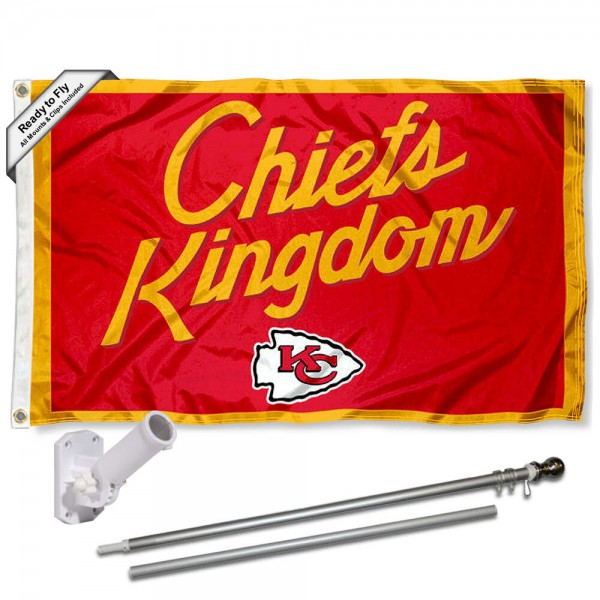 Our Kansas City Chiefs Chiefs Kingdom Slogan Flag Pole and Bracket Kit includes the flag as shown and the recommended flagpole and flag bracket. The flag is made of polyester, has quad-stitched flyends, and the NFL Licensed team logos are double sided screen printed. The flagpole and bracket are made of rust proof aluminum and includes all hardware so this kit is ready to install and fly.