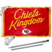 Kansas City Chiefs Chiefs Kingdom Slogan Flag Pole and Bracket Kit