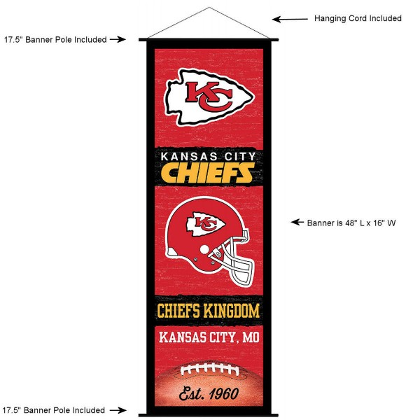 "This ""ready to hang"" Kansas City Chiefs Decor and Banner is made of polyester material, measures a large 17.5"" x 48"", offers screen printed athletic logos, and includes both top and bottom 3/4"" diameter plastic banner poles and hanging cord. Our Kansas City Chiefs D�cor and Banner is Officially Licensed by the selected team and NFL."