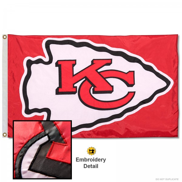 This Kansas City Chiefs Embroidered Nylon Flag is double sided, made of nylon, 3'x5', has two metal grommets, indoor or outdoor, and four-stitched fly ends. These Kansas City Chiefs Embroidered Nylon Flags are Officially Approved the Kansas City Chiefs and NFL.