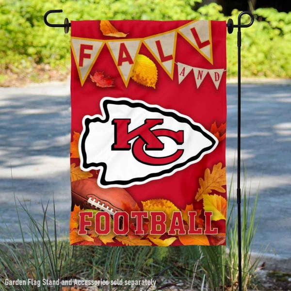 Kansas City Chiefs Fall Football Leaves Decorative Double Sided Garden Flag is 12.5x18 inches in size, is made of 2-ply polyester, and has two sided screen printed logos and lettering. Available with Express Next Day Ship, our Kansas City Chiefs Fall Football Leaves Decorative Double Sided Garden Flag is NFL Officially Licensed and is double sided.