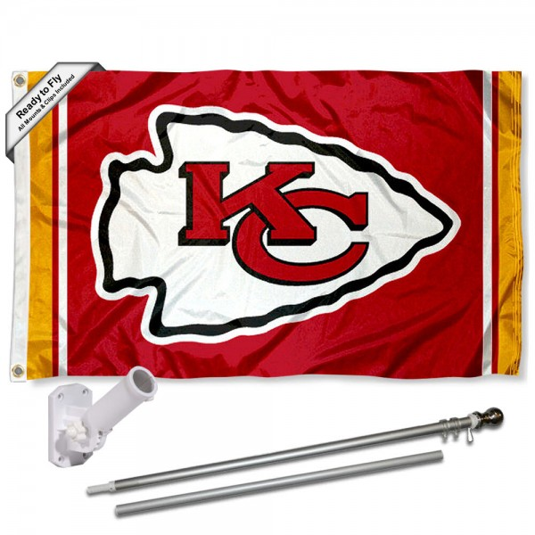 Our Kansas City Chiefs Flag Pole and Bracket Kit includes the flag as shown and the recommended flagpole and flag bracket. The flag is made of polyester, has quad-stitched flyends, and the NFL Licensed team logos are double sided screen printed. The flagpole and bracket are made of rust proof aluminum and includes all hardware so this kit is ready to install and fly.