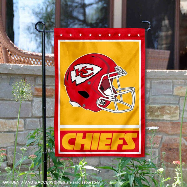 Kansas City Chiefs Football Garden Banner Flag is 12.5x18 inches in size, is made of 2-ply polyester, and has two sided screen printed logos and lettering. Available with Express Next Day Ship, our Kansas City Chiefs Football Garden Banner Flag is NFL Officially Licensed and is double sided.