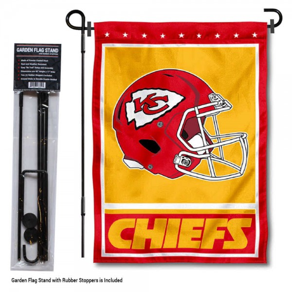"Kansas City Chiefs Helmet Garden Banner and Flag Stand kit includes our 13""x18"" garden banner which is made of 2 ply poly with liner and has screen printed licensed logos. Also, a 40""x17"" inch garden flag stand is included so your Kansas City Chiefs Helmet Garden Banner and Flag Stand is ready to be displayed with no tools needed for setup. Fast Overnight Shipping is offered and the flag is Officially Licensed and Approved by the selected team."