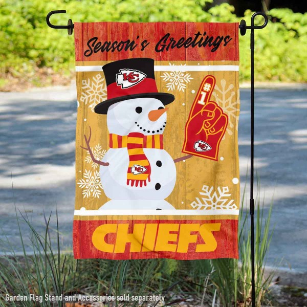 Kansas City Chiefs Holiday Winter Snow Double Sided Garden Flag is 12.5x18 inches in size, is made of 2-ply polyester, and has two sided screen printed logos and lettering. Available with Express Next Day Ship, our Kansas City Chiefs Holiday Winter Snow Double Sided Garden Flag is NFL Officially Licensed and is double sided.