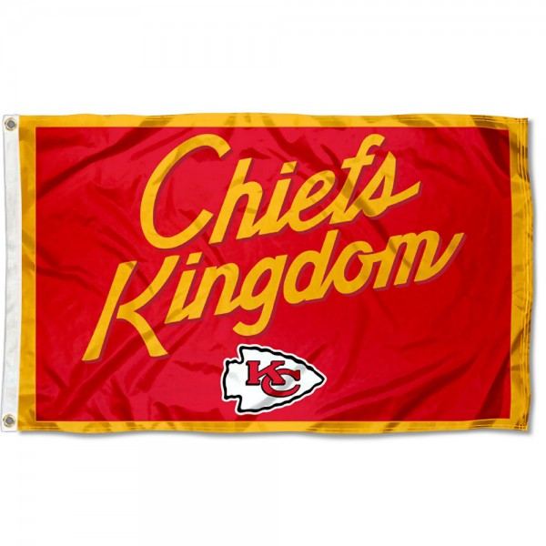 Our Kansas City Chiefs Kingdom Flag is double sided, made of poly, 3'x5', has two metal grommets, indoor or outdoor, and four-stitched fly ends. These Kansas City Chiefs Kingdom Flags are Officially Approved by the Kansas City Chiefs.
