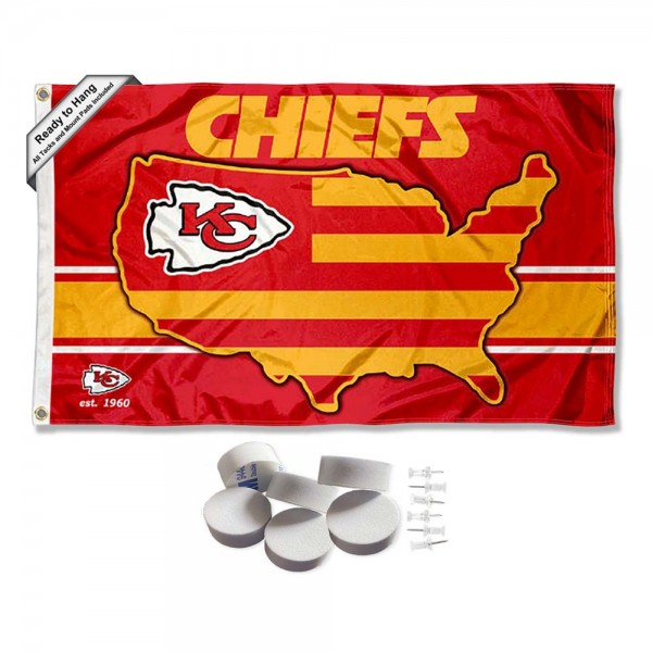 Our Kansas City Chiefs Nation Banner Flag with Tack Wall Pads is double sided, made of poly, 3'x5', has two metal grommets, indoor or outdoor, and four-stitched fly ends. These Kansas City Chiefs Nation Banner Flag with Tack Wall Padss are Officially Approved by the Kansas City Chiefs. Tapestry Wall Hanging Tack Pads which include a 6 pack of banner display pads with 6 tacks allowing you to hang your pennant on any wall damage-free.