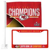 Kansas City Chiefs Super Bowl Champions License Plate Frame and Car Flag