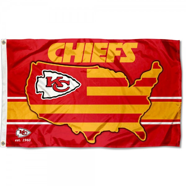 Our Kansas City Chiefs USA Country Flag is double sided, made of poly, 3'x5', has two metal grommets, indoor or outdoor, and four-stitched fly ends. These Kansas City Chiefs USA Country Flags are Officially Approved by the Kansas City Chiefs.