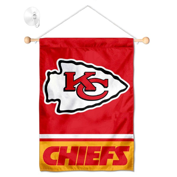 """Kansas City Chiefs Window and Wall Banner kit includes our 12.5""""x18"""" garden banner which is made of 2 ply poly with liner and has screen printed licensed logos. Also, a 17"""" wide banner pole with suction cup is included so your Kansas City Chiefs Window and Wall Banner is ready to be displayed with no tools needed for setup. Fast Overnight Shipping is offered and the flag is Officially Licensed and Approved by the selected team."""