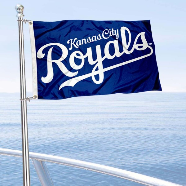 "Our Kansas City Royals Boat and Nautical Flag is 12""x18"", made of three-ply poly, has a solid header with two metal grommets, and is double sided. This Boat and Nautical Flag for Kansas City Royals is Officially Licensed by the MLB and can also be used as a motorcycle flag, boat flag, golf cart flag, or recreational flag."