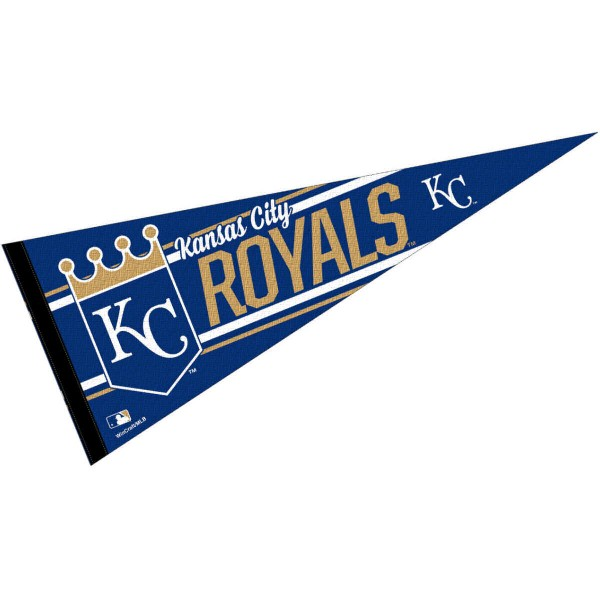 This Kansas City Royals Pennant measures 12x30 inches, is constructed of felt, and is single sided screen printed with the Kansas City Royals logo and insignia. Each Kansas City Royals Pennant is a MLB Genuine Merchandise product.