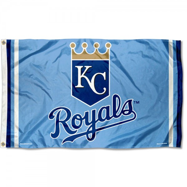Our Kansas City Royals Powder Blue Flag is double sided, made of poly, 3'x5', has two grommets, and four-stitched fly ends. These Kansas City Royals Powder Blue Flags are Officially Licensed by the MLB.