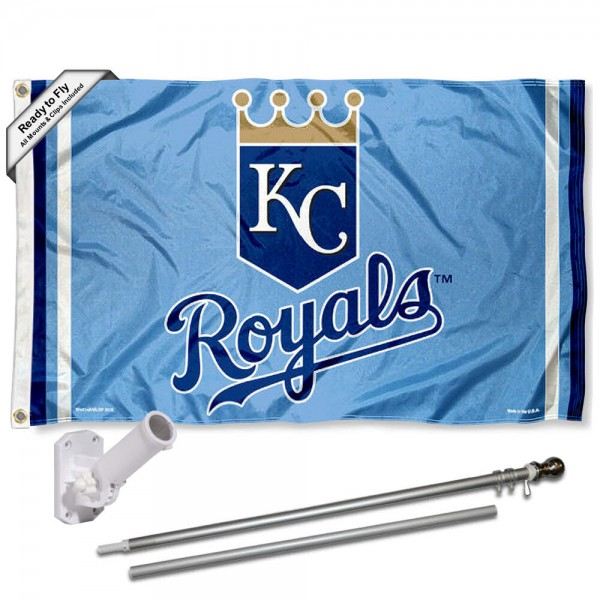 Our Kansas City Royals Powder Blue Flag Pole and Bracket Kit includes the flag as shown and the recommended flagpole and flag bracket. The flag is made of polyester, has quad-stitched flyends, and the MLB Licensed team logos are double sided screen printed. The flagpole and bracket are made of rust proof aluminum and includes all hardware so this kit is ready to install and fly.